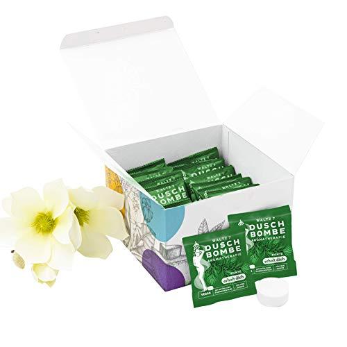 WALTZ7 aromatische Duschbombe Duft Fichte 16 Stück Duschbad Aromatherapie Wellness Geschenk für Damen und Herren Duschtab Ätherische Öle