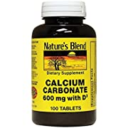 Nature's Blend Calcium Carbonate 600 mg with D3 400 IU 100 Tablets