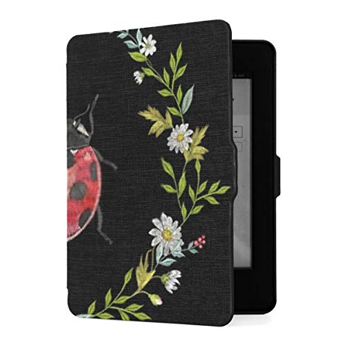 Kindle Paperwhite 1 2 3 Case, Embroidery Round Floral Pattern Chamomiles Ladybug Pu Leather Case Cover With Smart Auto Wake Sleep For Amazon Kindle Paperwhite(fits 2012, 2013, 2015 Versions)