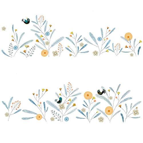 GWFVA Verse kleuren Decoratieve muurstickers Kwekerij Bloemen en vogels die stickers van hoek omzeilen