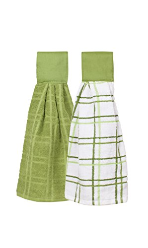Ritz Kitchen Wears 100% Cotton Checked & Solid Hanging Tie Towels, 2 Pack, Cactus Green, 2 Piece
