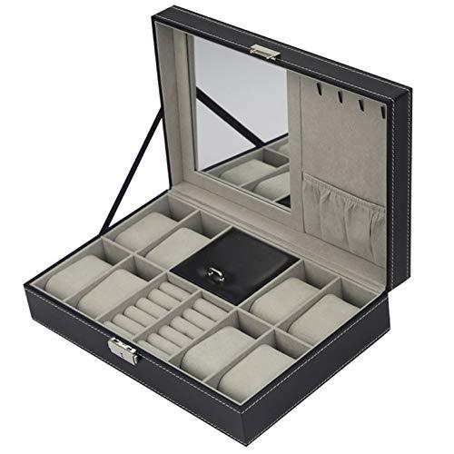 Caja de joyería de cuero PU Organizador de caja de almacenamiento multifuncional para pendientes Anillo Pulsera Reloj Joyero Caja de exhibición - Negro