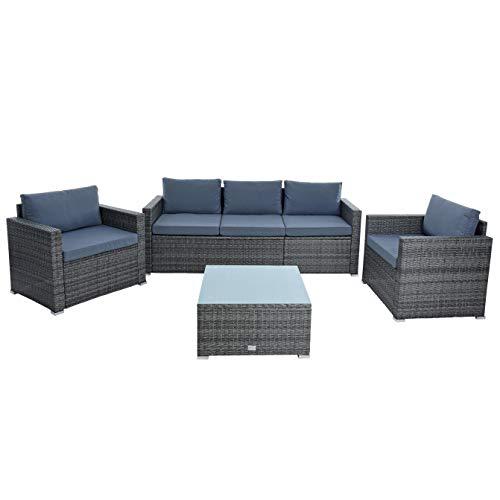 ESTEXO Polyrotan zitgroep XXL tuinset rotan lounge tuinmeubelen set eettafel tuin-lounge rotan meubels bank set antraciet-grijs.