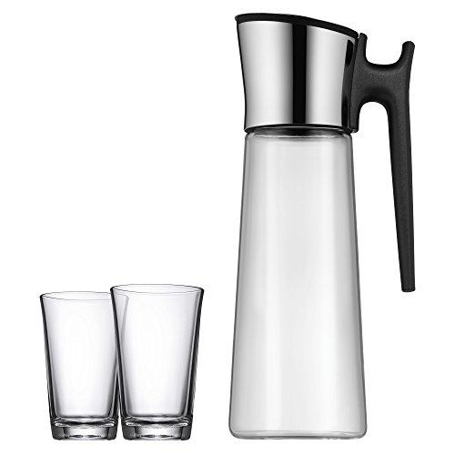 WMF Basic Wasserkaraffe Set 3-teilig, Karaffe 1,5l mit 2 Wassergläser 250ml, Glaskaraffe mit Deckel und Griff, Silikondeckel, CloseUp-Verschluss