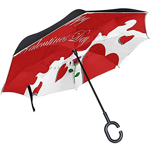 Reverse Umbrella Valentinstag Dekoration Inverted Umbrella Reversible für Golf Car Travel Regen Outdoor Schwarz