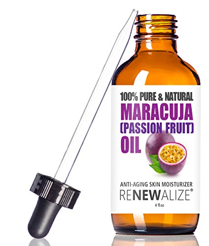 Maracuja (Passion Fruit) Seed Facial Oil by Renewalize | Anti-Aging Skin Moisturizer for Face | Cold Pressed and Unrefined | For All Skin Types | large 4 fl oz bottle