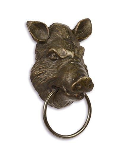 Handtuchhalter Handtuch Ring Wildschwein Kopf Gusseisen 18,3 cm