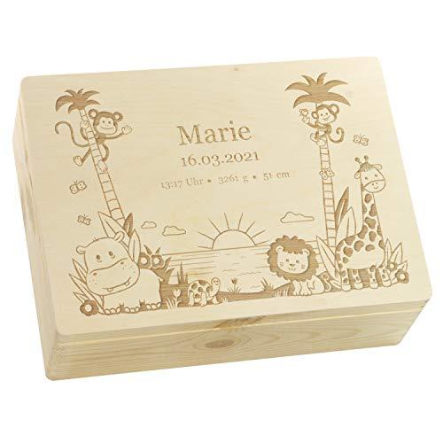LAUBLUST Erinnerungsbox Baby Personalisiert - Dschungel - Geschenk zur Geburt | L - ca. 40x30x14cm, Holzkiste Natur FSC®