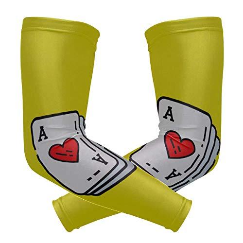 VNASKL - Maniche per tatuaggi da uomo Ace Hearts Card Icona Poker che gioca con stampa di ghiaccio e seta da donna, protezione da sole ad asciugatura rapida e traspirante con maniche, 2 pezzi