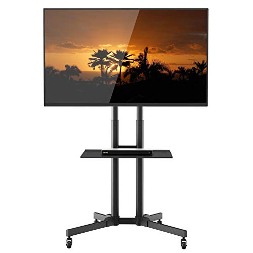 1home Rolling TV Cart Mobile TV Stand with Laptop Shelf & Locking Wheels for 32 to 65 inch LCD LED OLED Plasma Flat Panel Screen Height Adjustable, Black