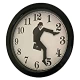 Monty Python Clock Silly Walk - Creative Wall Clock Artwork, Precise Sweep Seconds Silent Clock No-Ticking for Bedroom,Office & Library Wall Decorations (Black)