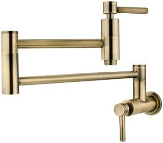 Kingston Brass KS8103DL Wall Mount Pot Filler Kitchen Faucet, Antique Brass
