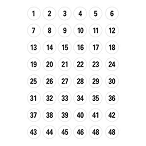 Herma Zahlen, 12mm, 1-240, Papier weiß, schwarz, 1x5 Bl., 4124