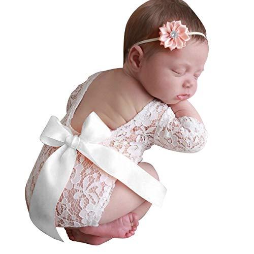 Camidy Neugeborene Fotografie Requisiten Outfits 2 Stück Baby Spitze Strampler Stirnband Set für Mädchen Fotoshooting
