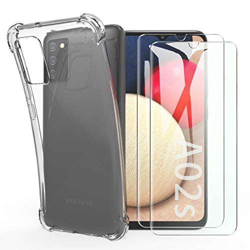 SMYTU Custodia Cover per Samsung Galaxy A02s + 2 Pezzi Vetro Temperato,Trasparente Anti-Giallo Cover Protettiva Antiurto Leggera e Sottile per Samsung Galaxy A02s - Crystal Clear