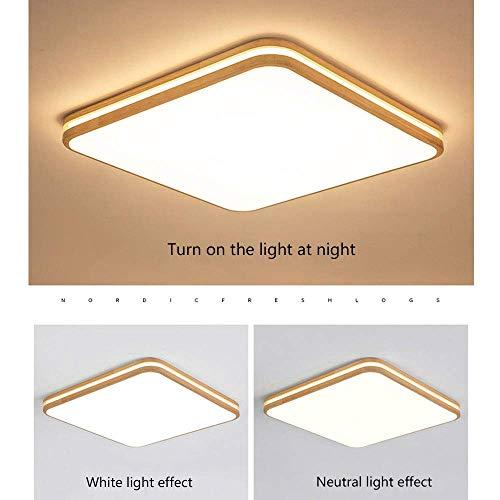 Lamp voor huis, slaapkamer, plafondlamp, LED-plafondlamp, rechthoekig, plafondlamp, van hout, modern, voor kantoor, slaapkamer, woonkamer, plafondlamp, Oslash; 45 cm, 24 W, 2160 lm [energie-efficiëntieklasse A++] Stepless Dimming 24w