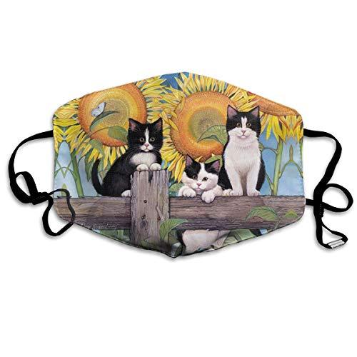 tres lindos gatitos en la valla de madera del jardín, puede lavar el polvo código M, lavable con alambre de nariz ajustable y orejeras