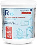 Goma de silicona de condensación líquida para moldes de silicona R 15. Endurecimiento rápido a temperatura ambiente. Ideal para la fabricación de moldes de dureza media (13 ShoreA) (500 g)