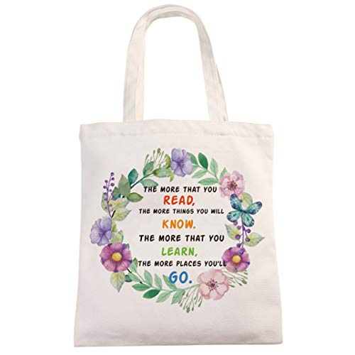 Chillake Inspirational Dr Seuss Quote Natural Cotton Canvas 12 Oz Reusable Hand Made Tote Bag - Cute Dr Seuss Theme Tote Bag Gifts for Kids Boys Girls