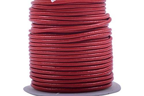 Cordón de piel auténtica/Real konmay 40colores 25m 1.5mm 2.0mm sólido redondo genuino/cordón de piel Real para manualidades/Jewelry Making