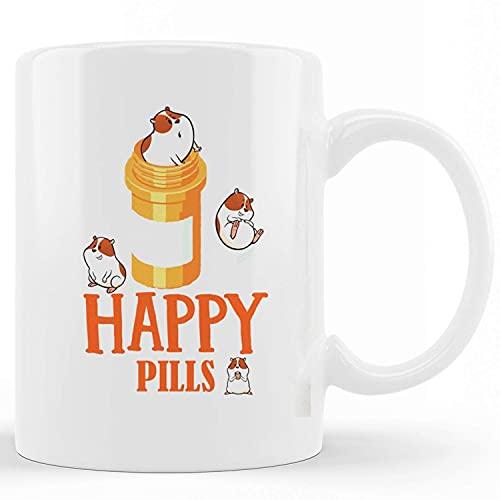 Keramische nieuwigheid koffie mokken cavia gelukkige pillen, grappige thee cup grappige woorden cadeau cadeau cadeau mok voor Kerstmis Thanksgiving Festival vrienden