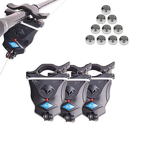Shackcom 3 pcs Sensible Alarma Picada Pesca de mordedura de Pescado Bite Indicator -para caña de Pescar-Universal Electrónico con indicador LED Vibración-LSS-2