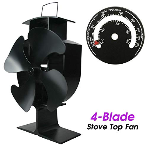 Kachelventilator 2/3/4 Blade Furnace Fan Mini Hot Air Furnace Top Fan 22.5 Cm Hoog Voor Extra Kleine Ruimte Op Top Van Hout/Log-brander/Open haard log brander ventilator 4 Blade