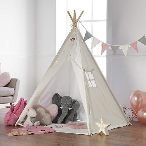 Haus Projekt Tienda Tipi para niños con Luces de Hadas, empavesado y Base Impermeable incluida - Tienda para Jugar e Imaginar, 100% algodón, para Interior / Exterior (Rosado/Blanco)