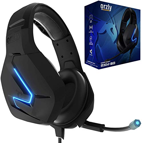Orzly Gaming Headset for PC and Gaming Consoles PS5, PS4, XBOX SERIES X | S, XBOX ONE, Nintendo Switch & Google Stadia Stereo sound with noise cancelling mic - Hornet RXH-20 Abyss Edition