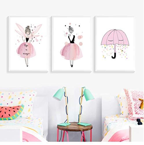 Fvfbd Aquarell 1 Rosa Prinzessin Gemälde Leinwand Blumen Wandkunst Poster Geburtstagsgeschenke Nordische Bilder für Mädchen Kinderzimmer Wohnkultur Keine gerahmten 50cmx70cmx3 STK