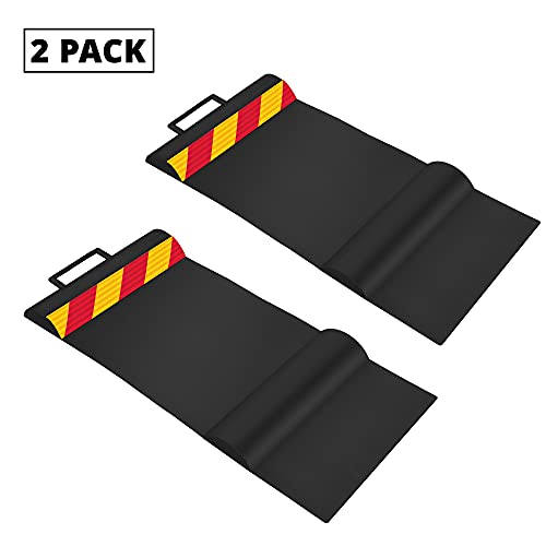RaxGo Car Parking Mat, Garage Wheel Stopper Parking Aid, Tire Guides for Cars, Trucks & Vehicles   Anti-Skid Grips, Easy Install Adhesive, Carry Handles & Reflective Strips, Black   Pack of 2 Mats