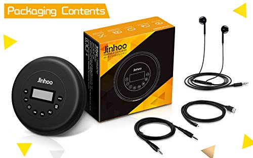 Portable CD Player with Wired Control Stereo Earbuds and 3.5mm Audio Cable, Jinhoo Rechargeable CD Player for car, FM Radio, Anti-Skip/Shockproof Protection Small Music MP3 Players 9