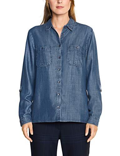 Cecil Damen 341658 Bluse, Blau (mid Blue Used wash 10320), X-Large (Herstellergröße:XL)