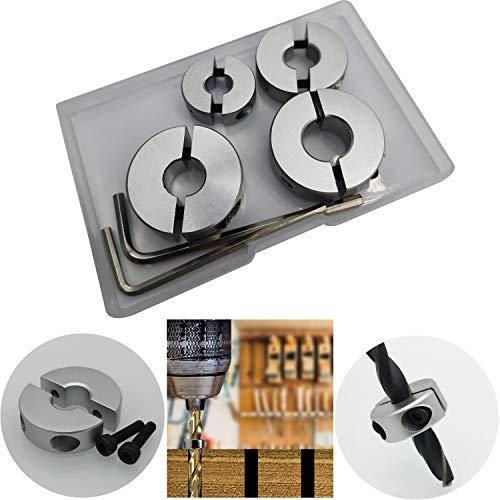 CESFONJER 4 tlg Aluminiumlegierung Tiefenanschlagringe Set Stellungsregler Ring Positionierer HSS-Locator Tiefenbegrenzer Tiefenstop Dübeln 6mm/8mm/10mm/12mm
