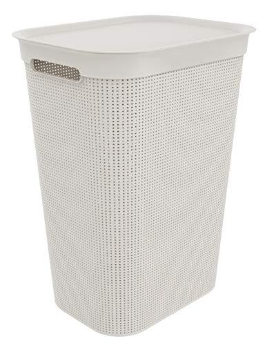Rotho Brisen Wäschekorb mit Deckel 50 l, Kunststoff (PP), Weiß (Sand), 50 Liter (43 x 34 x 53 cm)