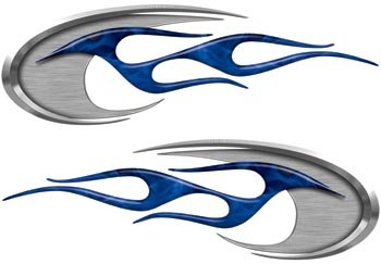 "Motorcycle Tank, Helmet, Side Cover Flame Decals in Inferno Blue - 2.5"" h x 8"" w - REFLECTIVE"