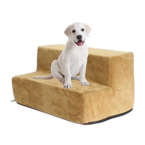 FANFANZ - Escalera para Mascotas, peldaños para Perros, Gatos, escaleras de 2 Pisos, Ciervos, Funda de Terciopelo para Perro débil, cómoda, escaleras, Gatos, Mascotas, Producto