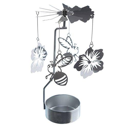 Roterende theelichthouder voor bij en bloemen