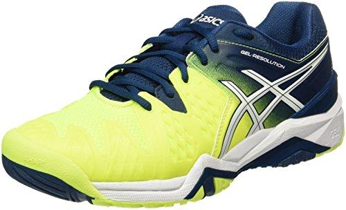 Asics Gel-Resolution 6, Zapatillas de Tenis Hombre, Multicolor (Safety Yellow/White/Poseidon), 42 EU