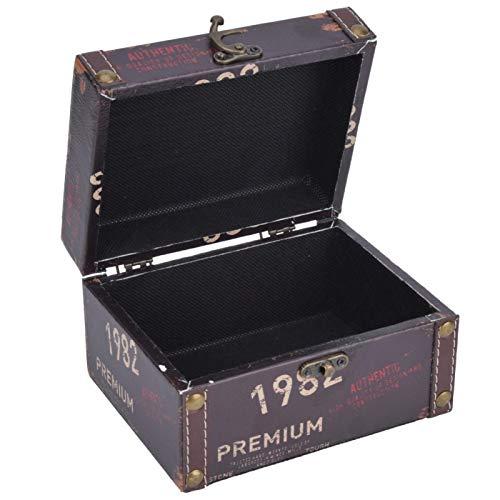 Agatige Caja de Almacenamiento de Madera Retro, Caja del Tesoro Vintage, Organizador de Joyas, Adornos de Escritorio, Accesorio fotográfico(2208A-03-1982)