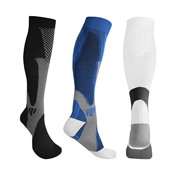 Compression Socks for Women & Men – 3 Pairs 20-30 mmhg Running Support...