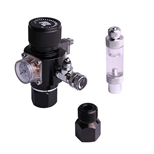 FZONE Aquarium CO2 Regulator Triple Stage with DC Solenoid and Bubble Counter Check Valve Compatible Paintball Tank CGA320 CO2 Cylinder