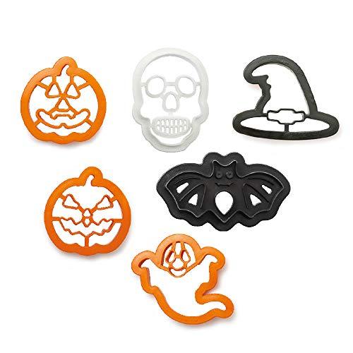 Kit 6 TAGLIAPASTA di Halloween - Zucca, Pipistrello, Cappello Strega, Teschio, Fantasma - per Creare Fantastici Biscotti o Dolci - Ideale per Decorazioni in Pasta di Zucchero ECC.