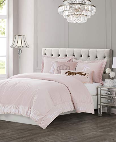 Juicy Couture Gothic Bedding Set - Queen Size – Light Pink Plush Velvet with White Embroidered Gothic Letters Border - 3 Piece Set - Includes 1 90 inch x 92 inch Comforter, 2 Shams