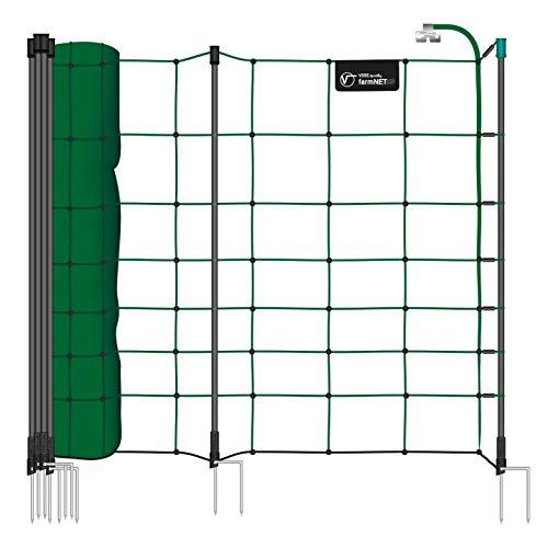 VOSS.farming Premium Schafnetz farmNET+ 50m 90cm Elektronetz 20 Pfähle 2 Spitzen grün, Hundezaun Weidezaun, Auch für Hunde als Agilitynetz