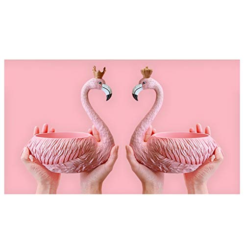 KHUY Creative Bandeja Decorativa Centro de Mesa, Oficina Casa Vaciabolsillos Recibidor Café Bar Decoración Llavero Joyería Organizador de Llaves con Estilo Flamingo, Materia Resina