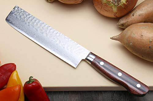 Yoshihiro VG-10 16 Layer Hammered Damascus Stainless Steel Nakiri Vegetable Knife (6.5'' (165mm))