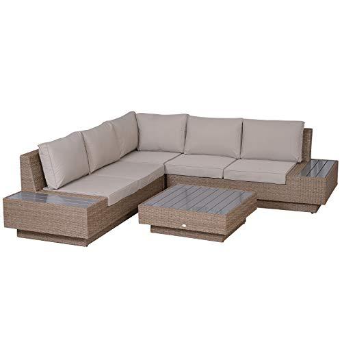 Outsunny 4-TLG. Luxus Polyrattan Gartengarnitur Gartenmöbel Garten-Set Sitzgruppe Loungeset Loungemöbel inkl. Ablagen und Beistelltisch Sitzkissen