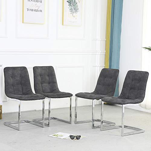 WENYU Juego de 4 sillas de Comedor – Silla de Comedor Moderna de Cuero para Interiores con Patas de Metal, cómodas sillas Laterales con Suave Acolchado para Sala de Estar o Sala de Estar
