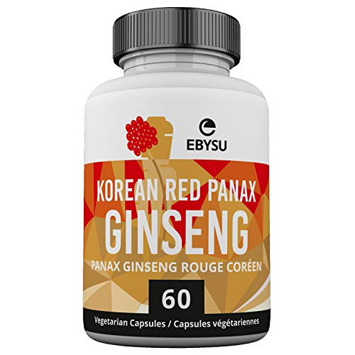 EBYSU Korean Red Ginseng Supplement – Used in Herbal Medicine to Support Cognitive Function, Increase Resistance to Stress & Increase Energy – 60 Capsules (500 mg)